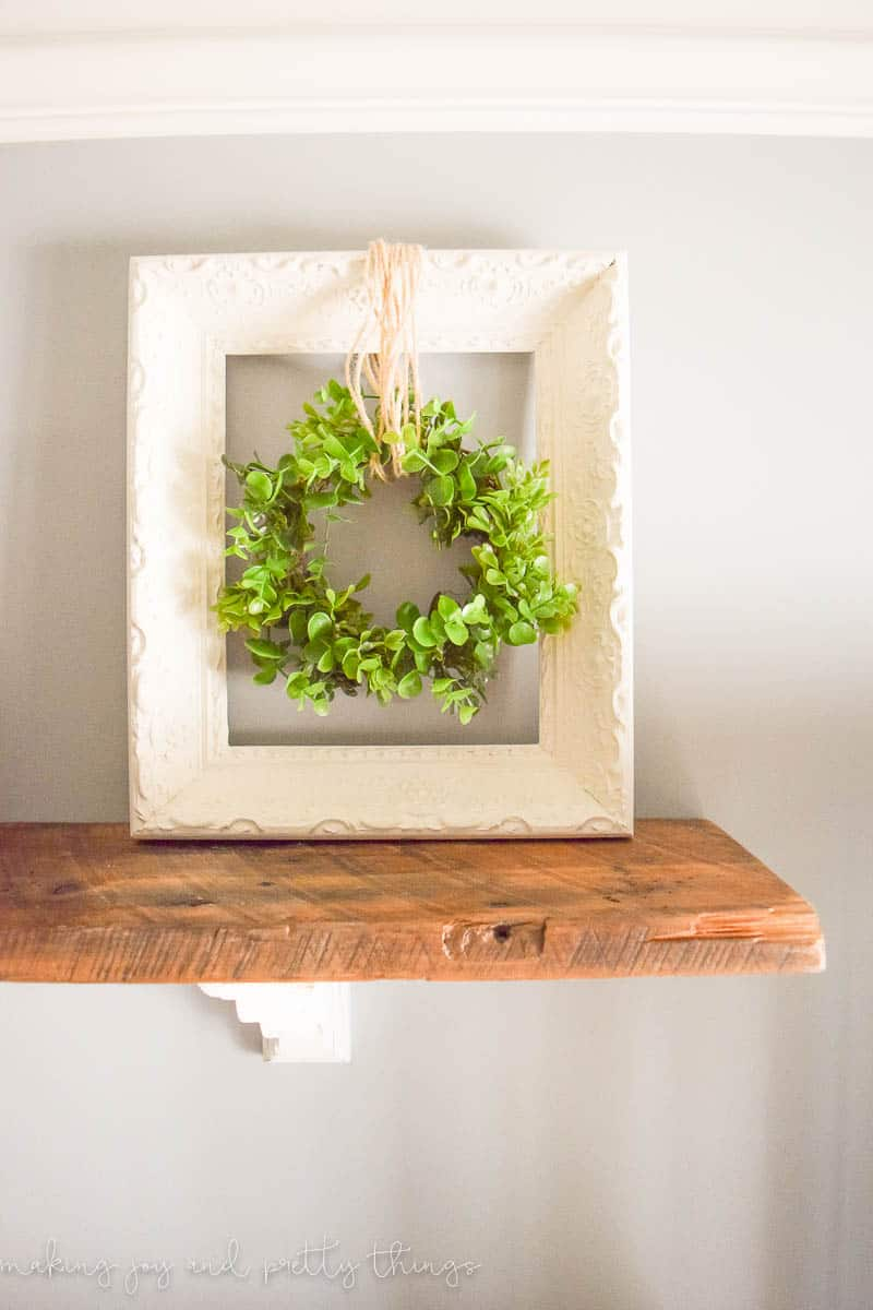 Simple farmhouse decor how to make your own wood bead garland upcycled wreath and frame simple arubaitofo Gallery