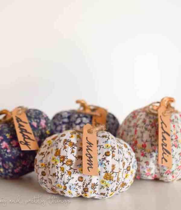 Simple Farmhouse Decor: Fabric Washi Tape Pumpkin Place Setting