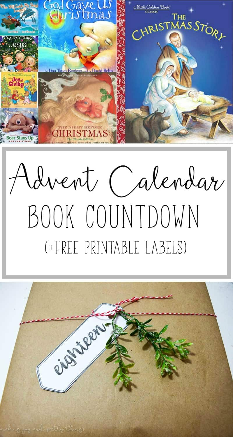 28 advent calendar book countdown plus free printable labels!  Get into the Christmas spirit and keep the true meaning of Christmas in mind with a Christmas book countdown.