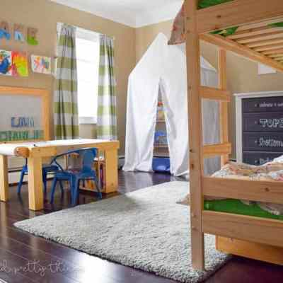 One Room Challenge {Week 6}:  A Shared Boys Bedroom Reveal PLUS an Exciting Announcement!