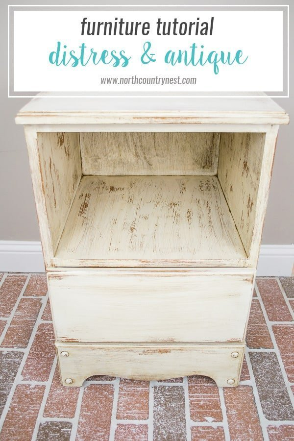 How to distress and antique a side table / furniture paint technique / antique  furniture / - Side Table Makeover: How To Distress And Antique Furniture