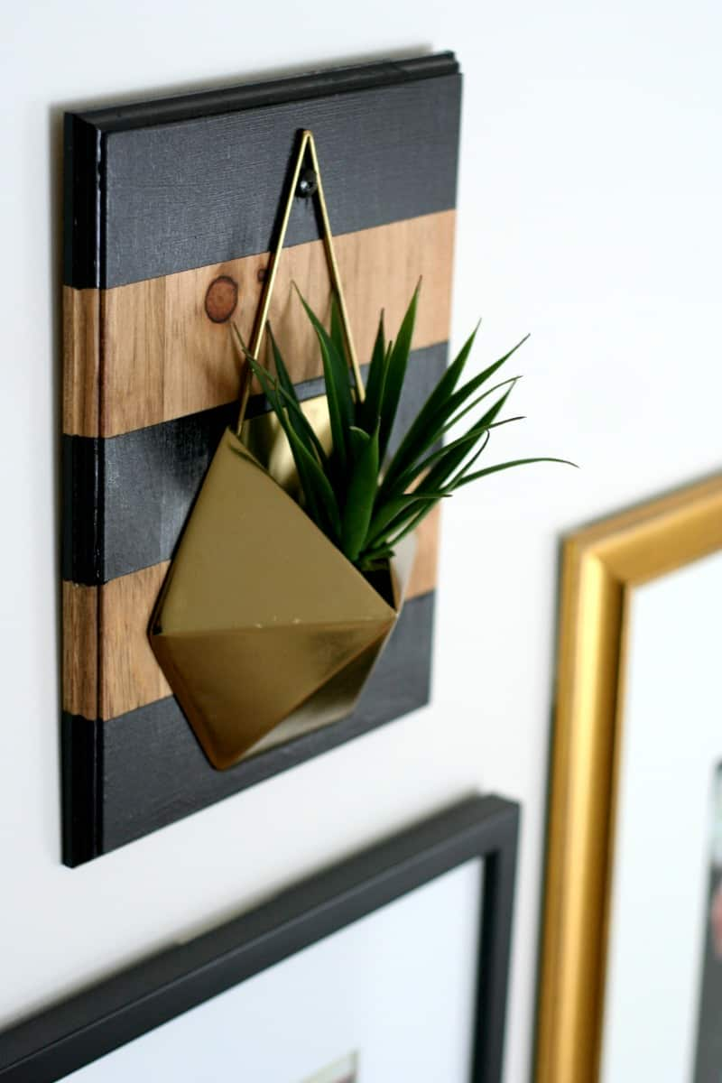 diy rustic farmhouse glam wall planter stained wood with bold black stripes and gold anthropologie planter