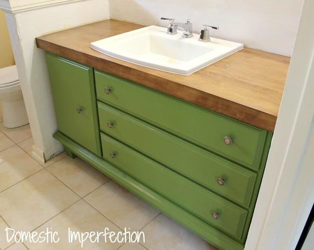 Bathroom inspiration using a dresser as a vanity for Turning a dresser into a bathroom vanity