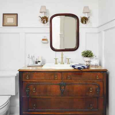 Bathroom Inspiration:  Using a Dresser as a Vanity