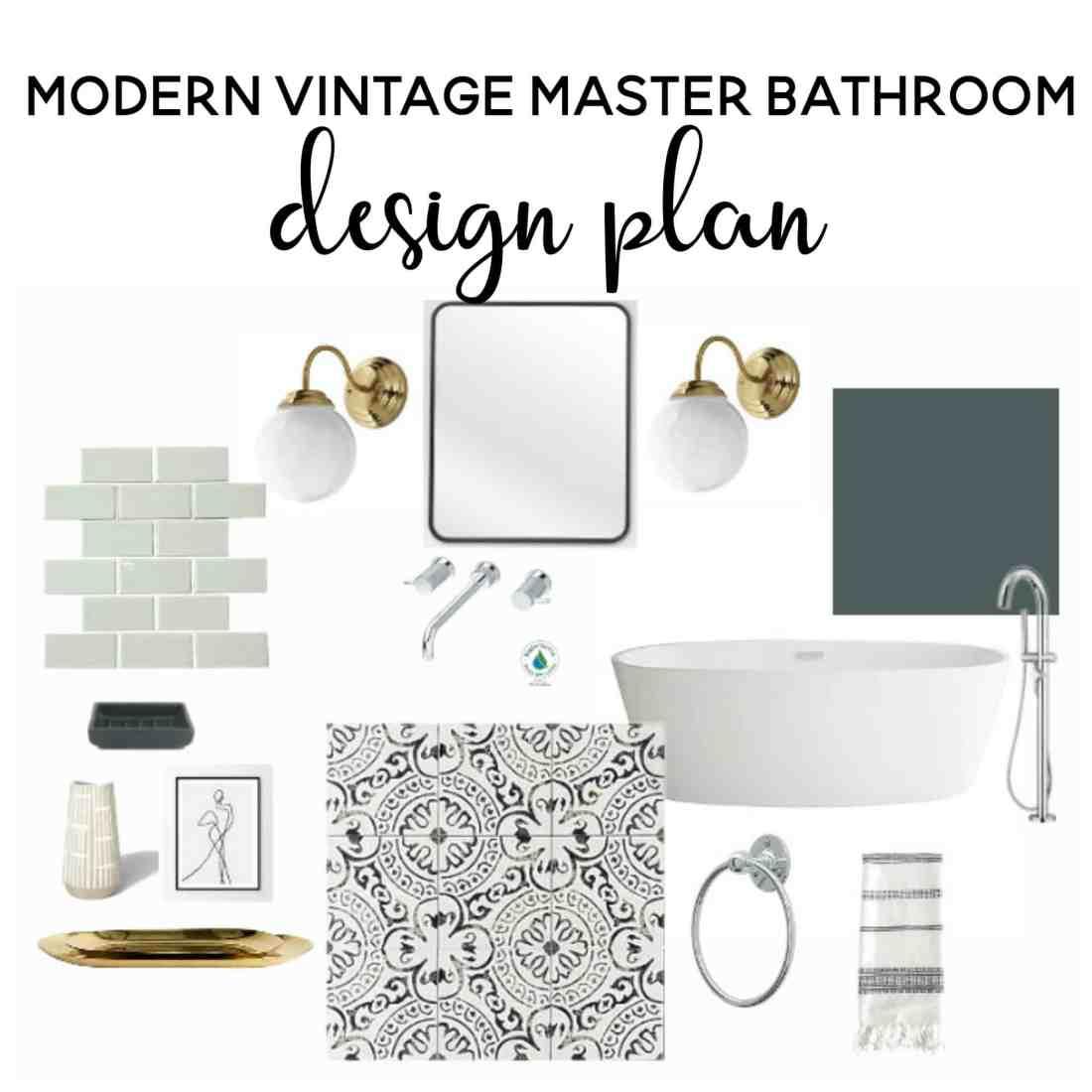 modern vintage master bathroom design plan | bathroom ideas | bathroom remodel | bathroom decor | master bathroom remodel | renovating on a budget | modern vintage bathroom | bathroom design ideas | bathroom design small | attic bathroom | bathroom ideas