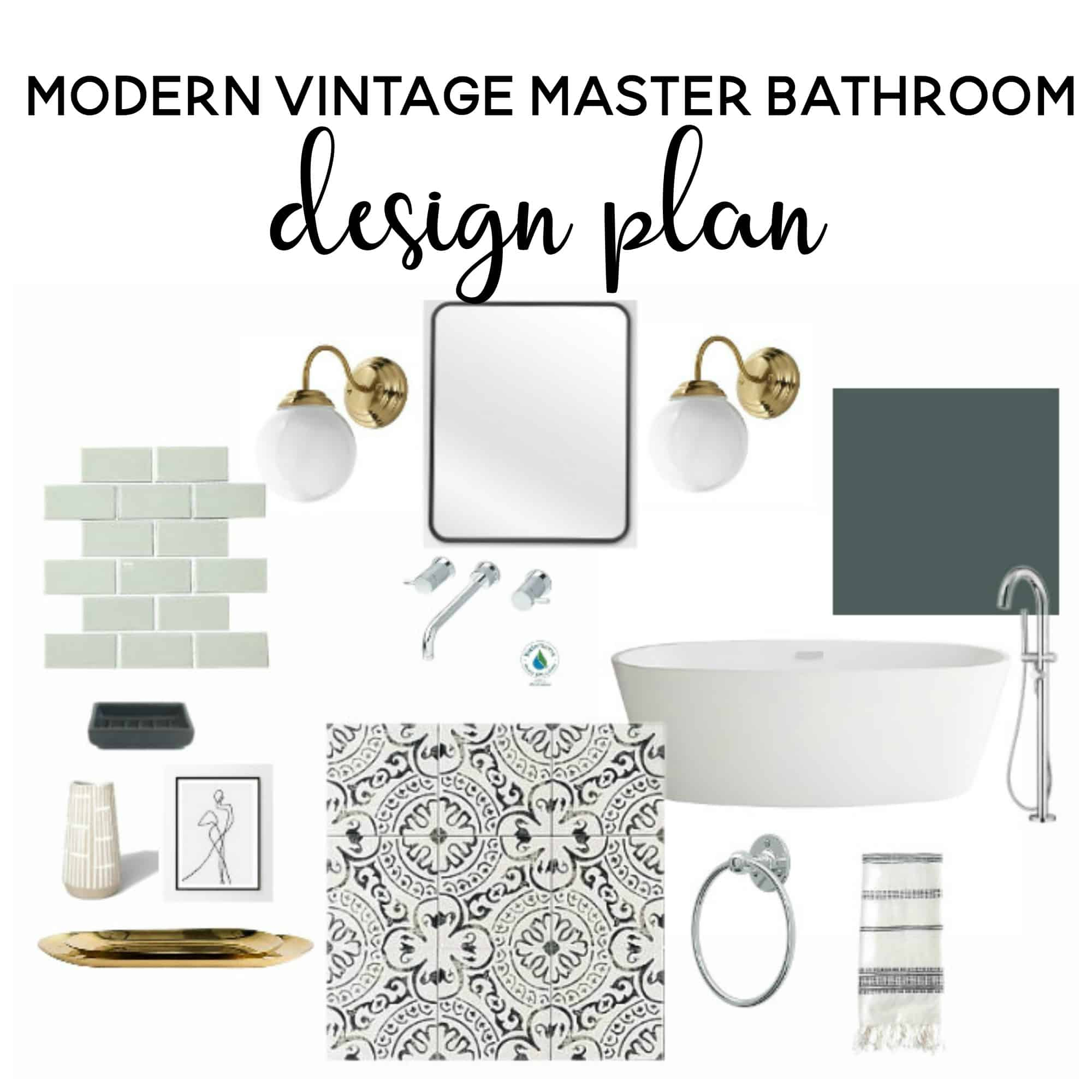 Modern Vintage Master Bathroom Design Plan | Bathroom Ideas | Bathroom  Remodel | Bathroom Decor |