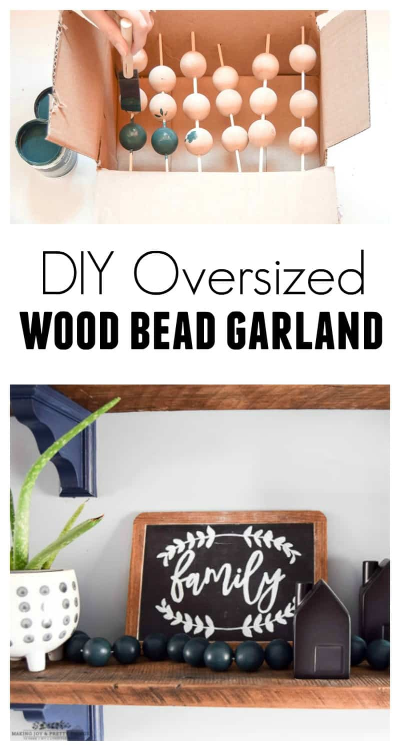 #diyhomedecor #diyproject #diywoodbeadgarland | diy oversized wood bead garland | farmhouse decor | farmhouse projects | simple diy crafts | easy diy crafts | Christmas crafts | Christmas decor | wood beads | wood bead projects | wood bead garland diy