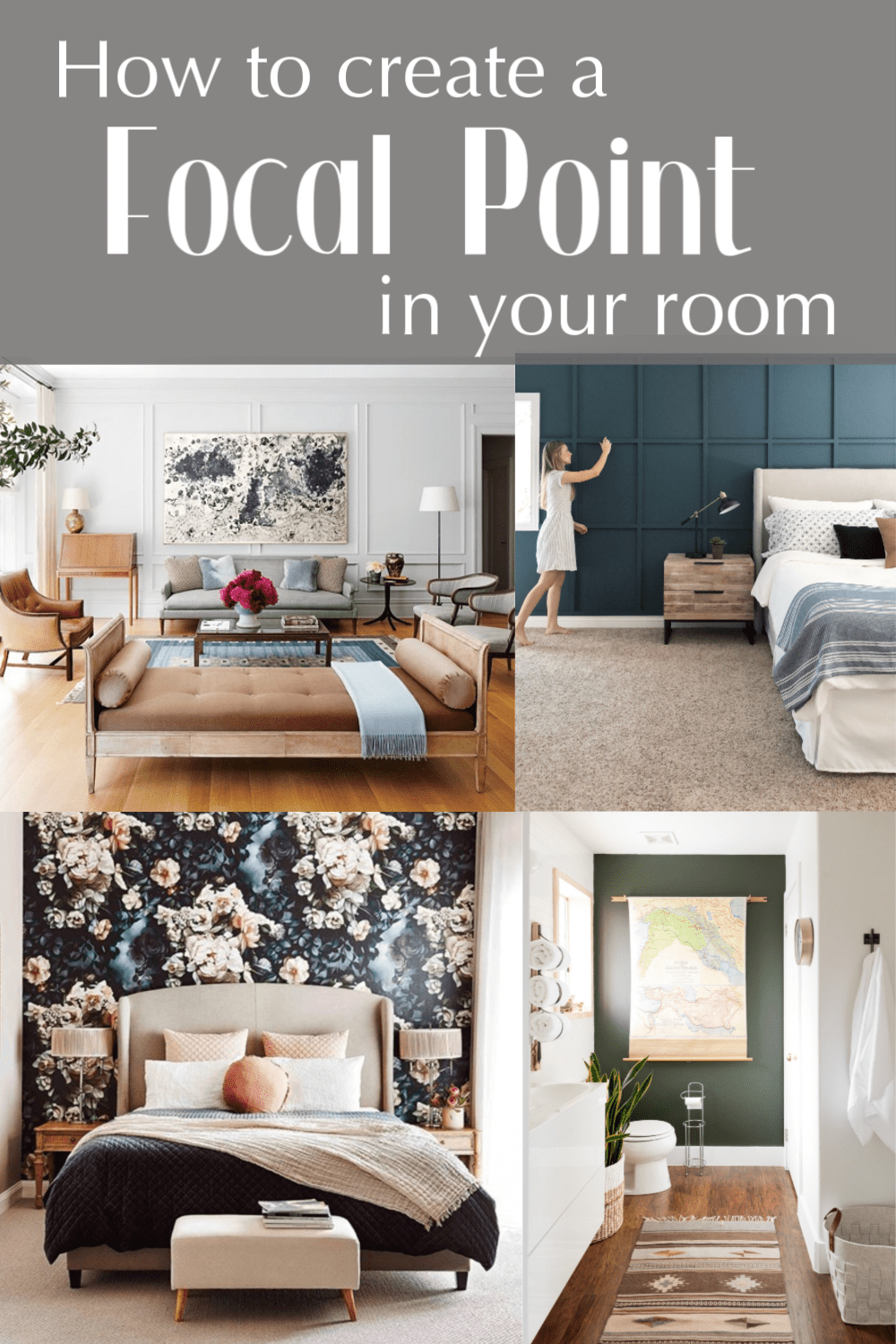 Learn how to create a focal point in your room like adding a wood feature wall, using wallpaper, a large piece of artwork,  or a bold painted feature wall.  You can also accent architectural elements in a room like a fireplace, large windows, or builtins.  #focalpoint #interiordesign #decoratingtips