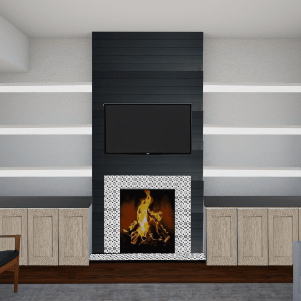 Sharing all of our fireplace makeover ideas and fireplace design ideas! It's time for our fireplace makeover DIY! Deciding between cement fireplace, black shiplap fireplace, IKEA cabinet doors, and DIY stenciled fireplace. We're doing an IKEA hack! Turning IKEA kitchen cabinets into DIY builtin storage. Hop over to see our 3D renderings of the fireplace design with TV - it's a modern fireplace surround! #diy #fireplace #fireplacedesign #diyfireplace #stencil #shiplap #ikeahack