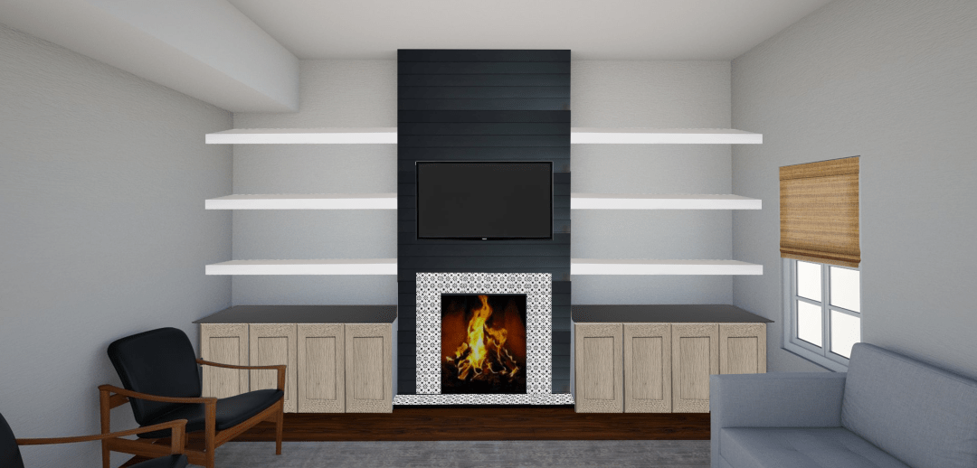 Sharing all of our fireplace makeover ideas and fireplace design ideas!  It's time for our fireplace makeover DIY!  We're deciding between cement fireplace, black shiplap fireplace, IKEA cabinet doors, and DIY stenciled fireplace options.  Plus, we're doing a fun IKEA hack!  Turning IKEA kitchen cabinets into DIY builtin storage.  Hop over to see our 3D renderings of the fireplace design with TV - it's a modern fireplace surround!  #diy #fireplace #fireplacedesign #diyfireplace #stencil #shiplap #ikeahack