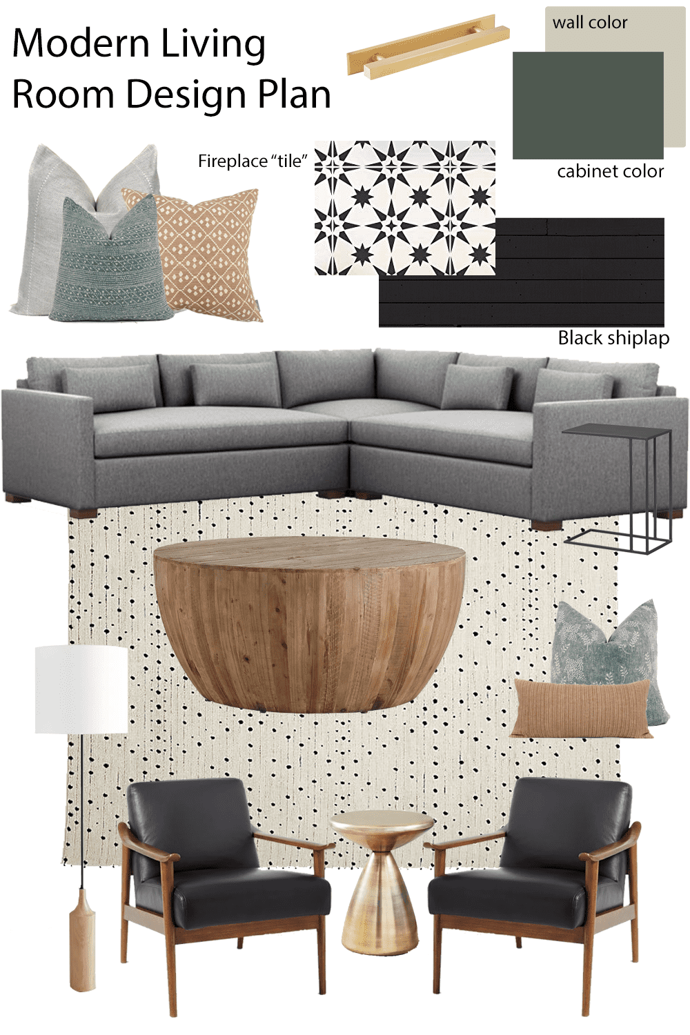 Sharing our modern living room design plan!  Get some living room ideas including modern sectional, decorative pillow arrangements, updating a fireplace, black shiplap fireplace, stenciled fireplace, DIY builtins using an IKEA hack, and more!  Can't wait to get started on the living room renovation!  #livingroom #diy #livingroomdesign