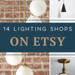 Looking for lighting ideas? I've found the best light fixture shops on Etsy! Whether you're shopping for a chandelier, sconces, pendant lights, or table lamps you can find unique lighting on these Etsy light shops! Etsy light fixtures are so unique and different from what you'll find at the big box stores. Plus, often they are more budget friendly, great for you budget shoppers out there! Let's find your perfect light for your home! #lights #lighting #homedecor #etsy #uniquelighting