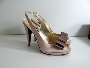 blush pink and chocolate brown satin slingback shoes