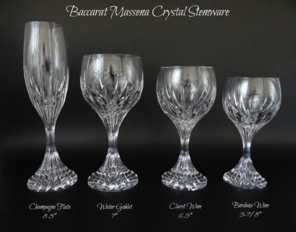 Baccarat crystal stemware Baccarat champagne flute Baccarat red wine glass Baccarat white wine glass Baccarat wine glass