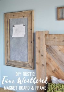 Picture of rustic magnet board with distressed wood frame and metal insert