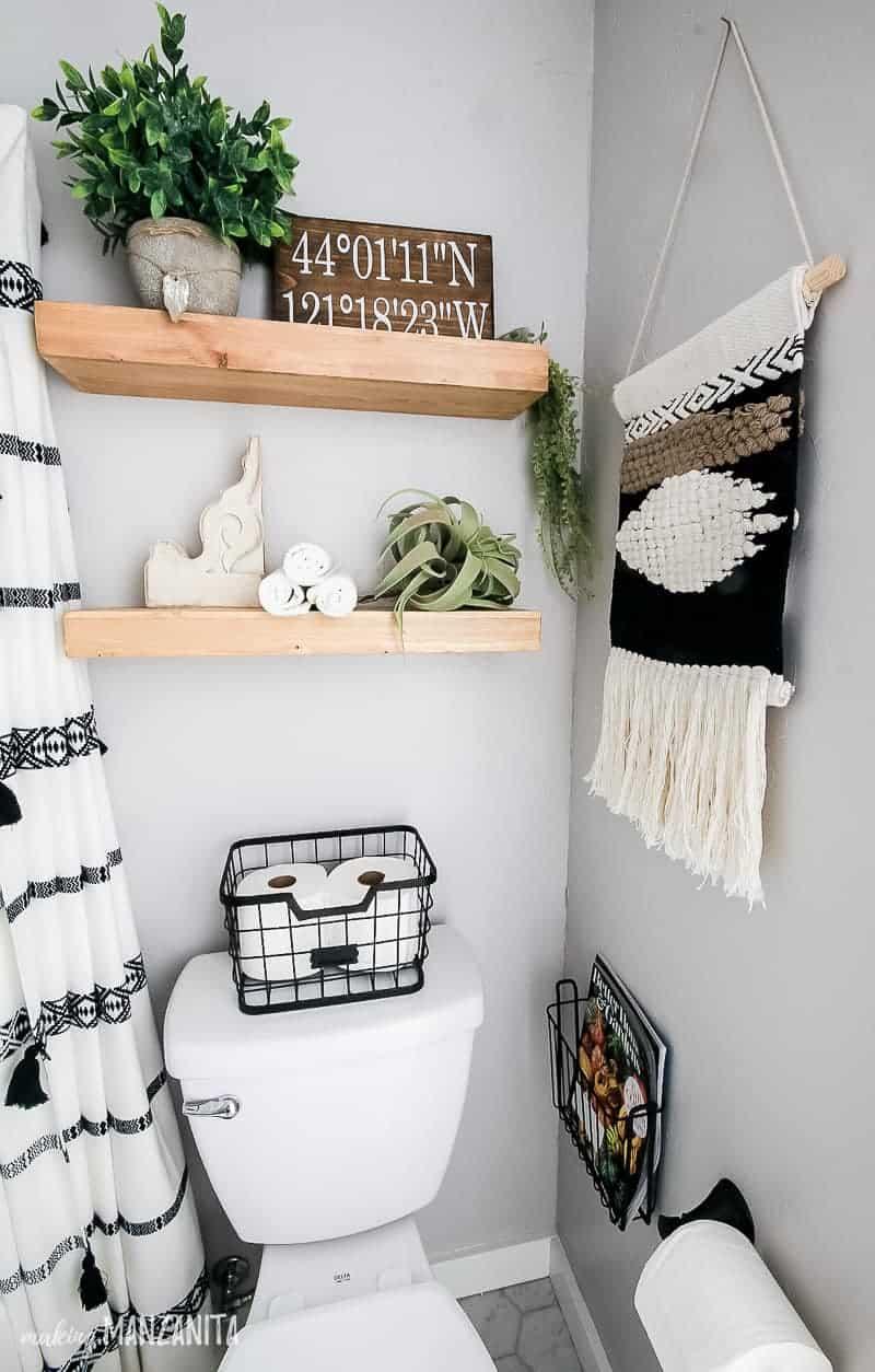 Modern Farmhouse Bathroom Reveal With Boho Vibes on Modern Boho Wall Decor  id=94043