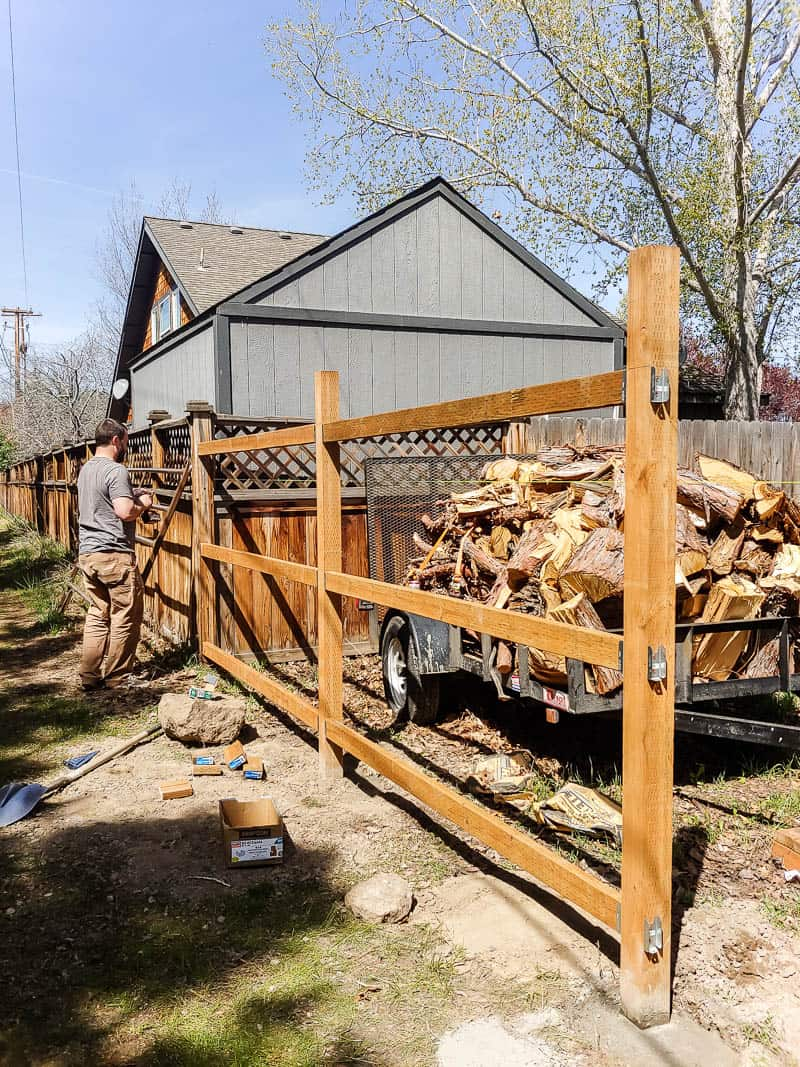 shows the framework for a fence without pickets