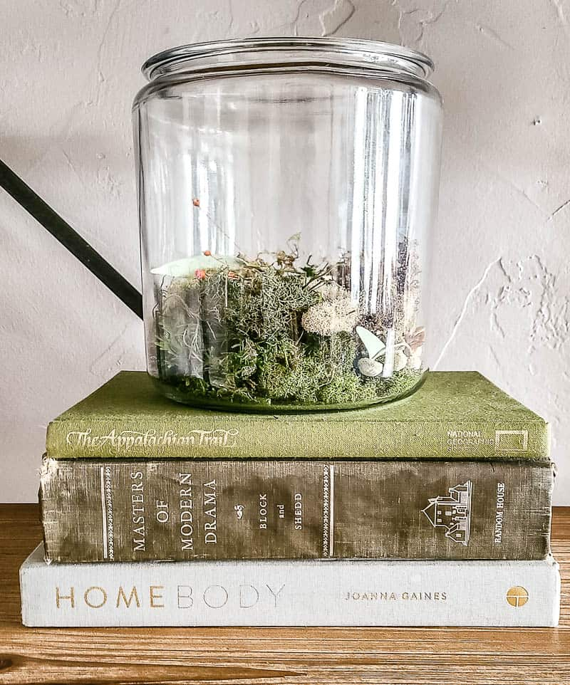 Glass container filled with moss stacked on green and gray vintage book