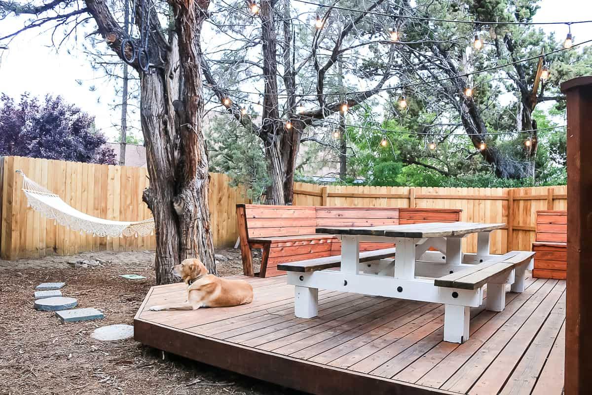 wooden fence behind deck