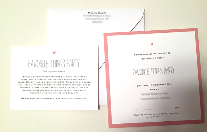 invites for favorite things party