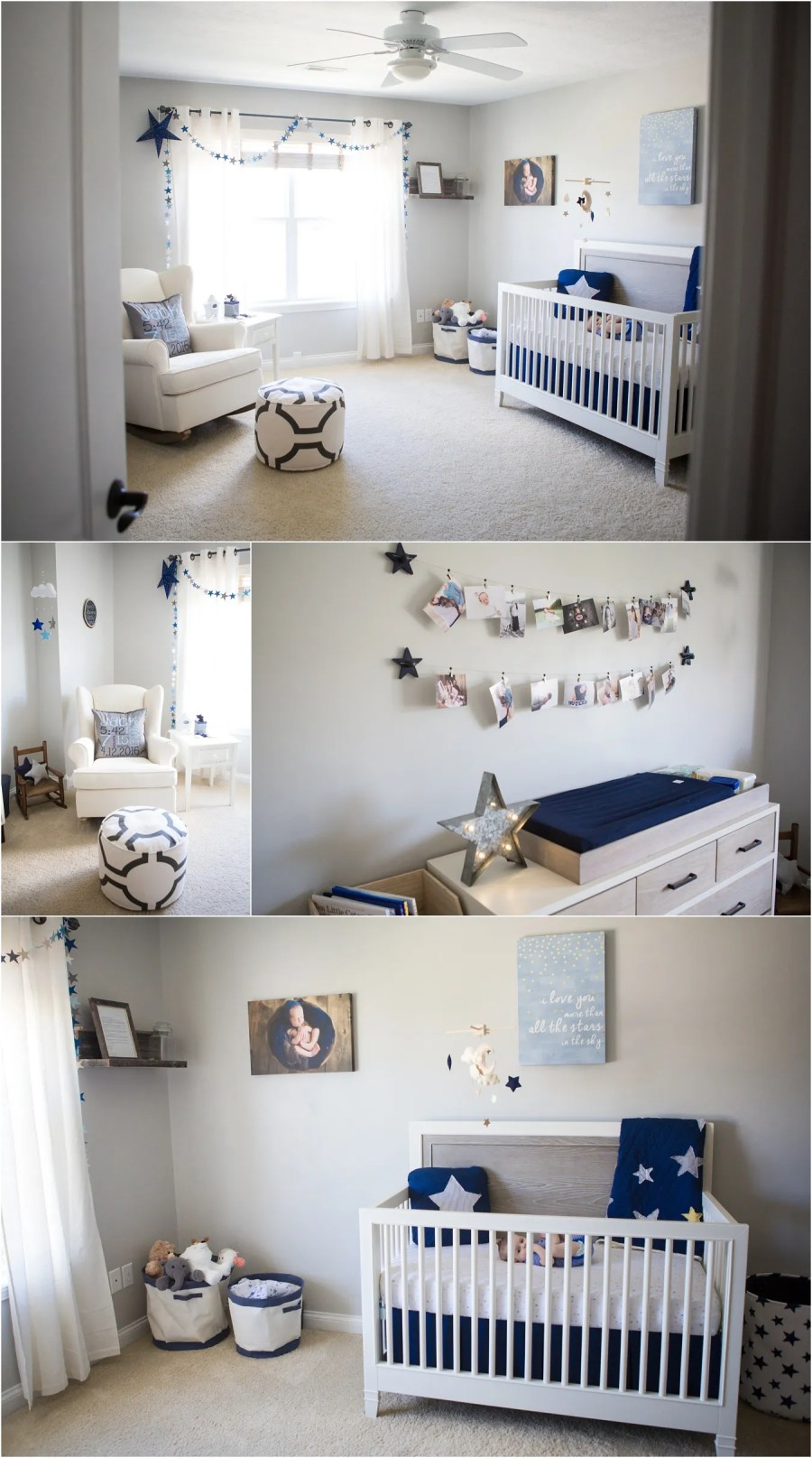 navy blue nursery ideas - star themed