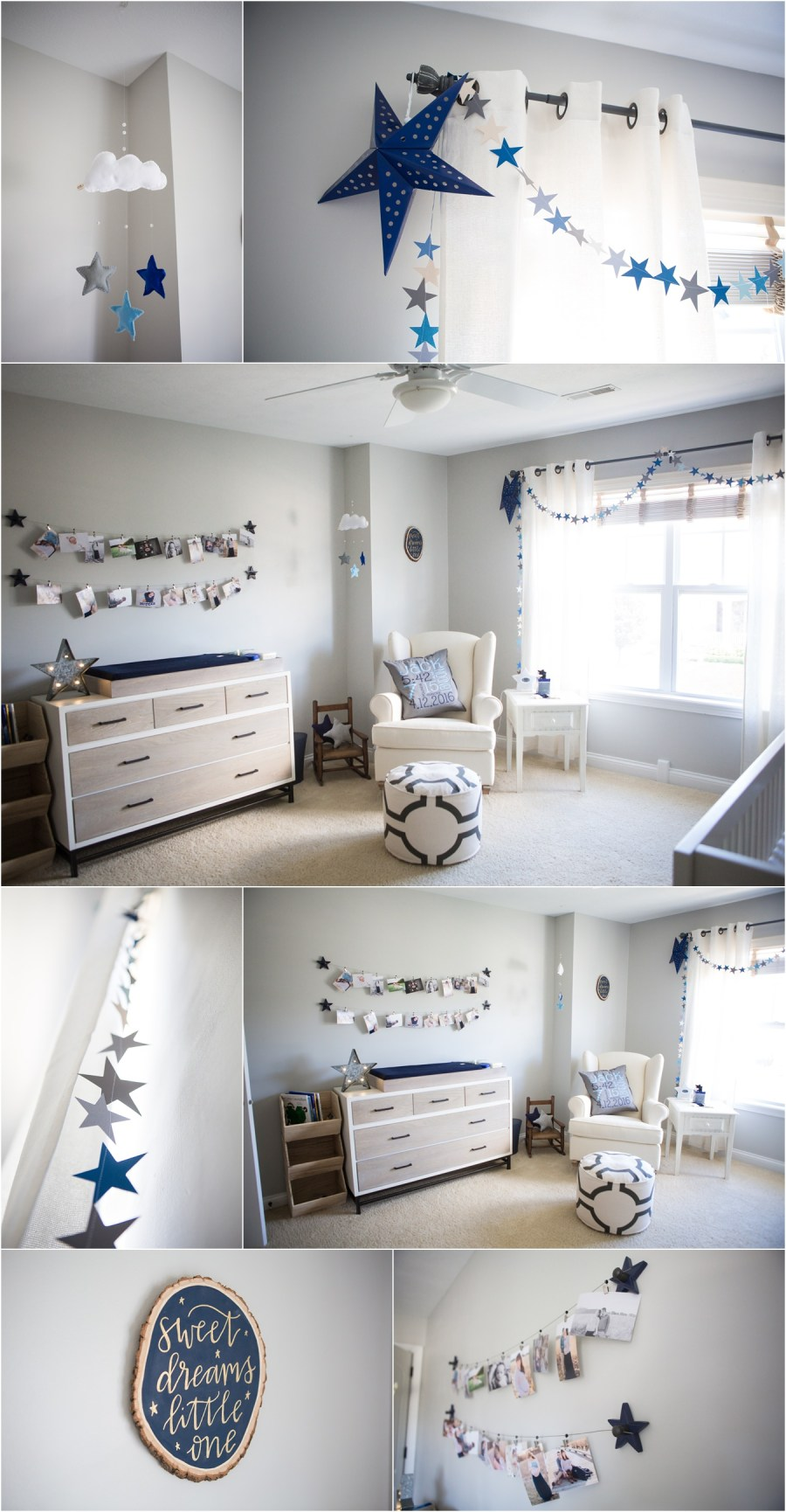 Repose Gray by Sherwin Williams painted nursery - star and moon themed nursery