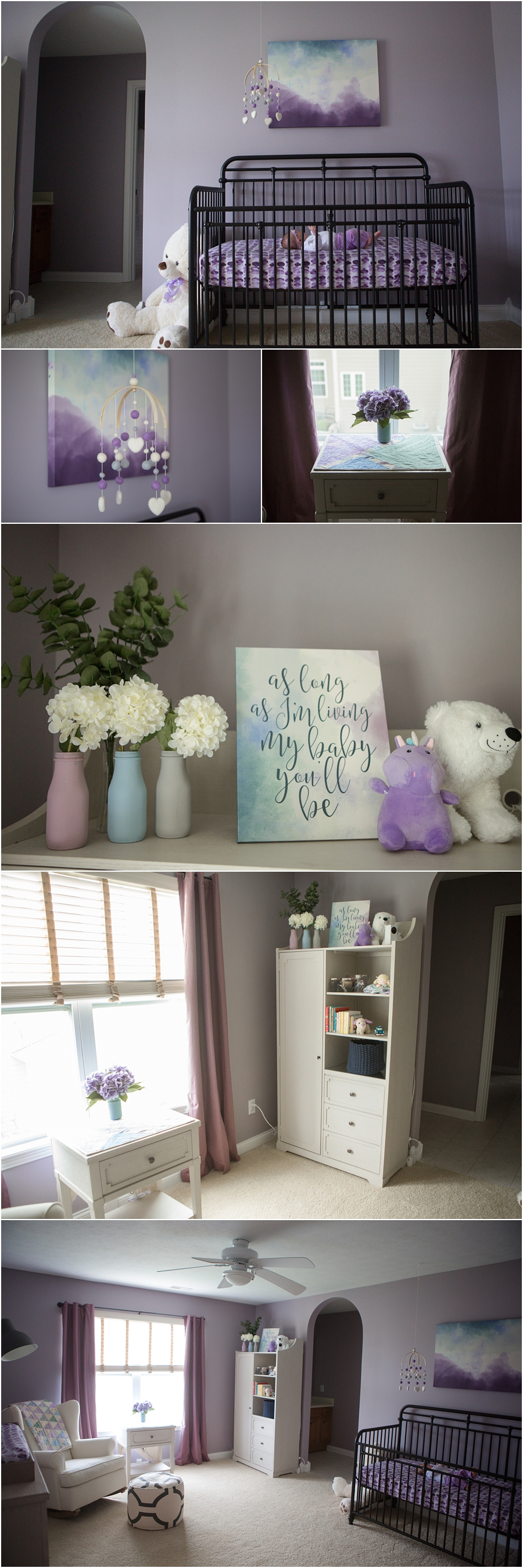 beautiful purple nursery with watercolor and vintage accents - purple and blue