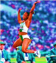 Chioma Ajunwa winning Long Jump Gold at Atlanta '96