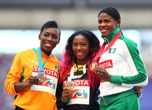 200m World Championship Medallists at Moscow 2013 (L-R - Cote d'Ivoire's Ahoure won Silver, Jamaica's Fraser-Pryce won GOLD and Nigeria's Okagabre won Bronze)