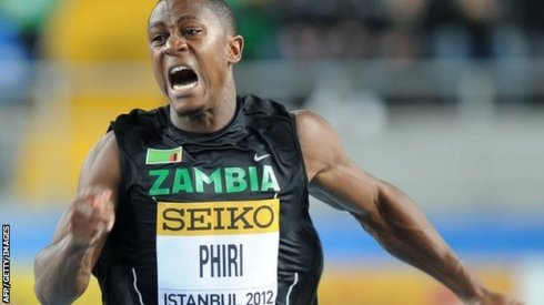 Zambia's Gerald Phiri has run a PB of 10.03 seconds in the 100 metres in 2014
