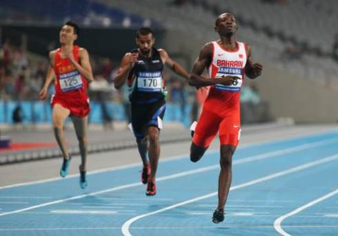 Abbas Abubakar sets PB of 45.17s in the 400m Semis at the 2014 Asian Games (Photo credit: AP Photo/Rob Griffith)