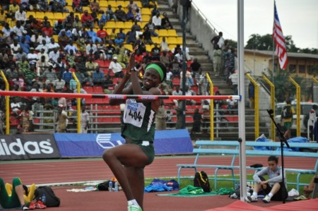 Doreen competing at the 2012 African Championships in Port Novo.  (Photo Credit: Yomi Omogbeja)
