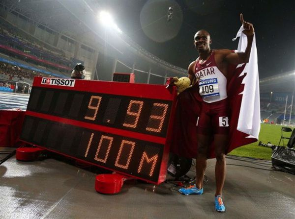 Femi Ogunode after setting a new 100m Asian Record at 2014 Asian Games. (Photo Credit: Jason Reed, Reuters)