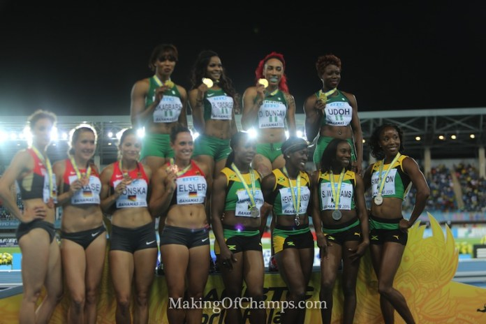 Medal Ceremony for women's 4x200m at 2015 World Relays