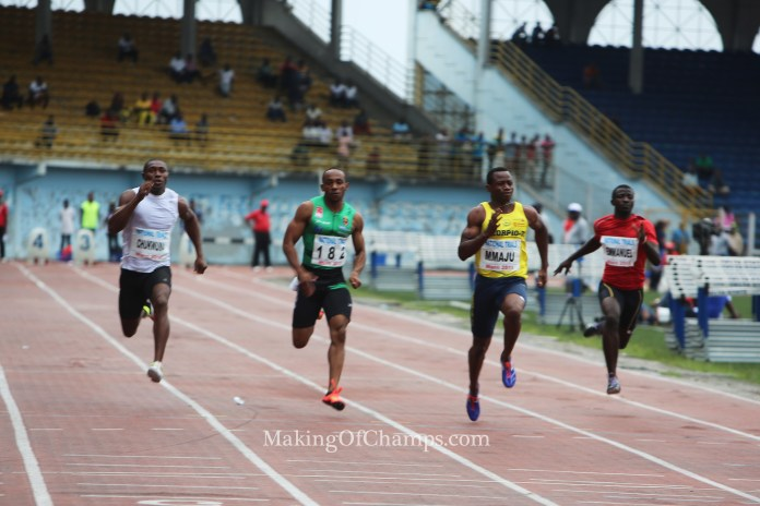 The men's 100m heats was an exciting affair.