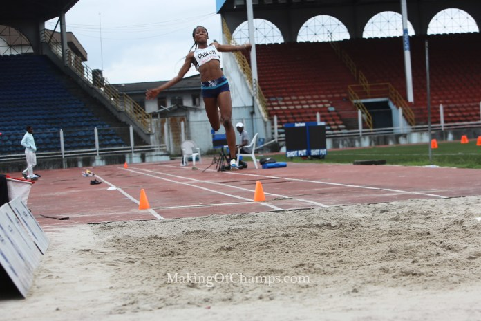 A new champion emerged in the women's Long Jump.