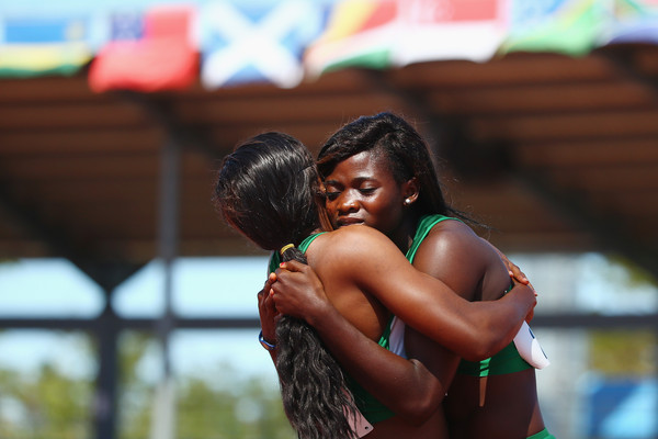 It was a 1-2 for Nigeria in the Girls' 100m. (Photo Credit: Mark Kolbe/Getty Images)
