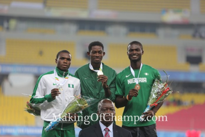 Koffi was joined by Nigeria's Divine Oduduru and Odele Tega on the podium.