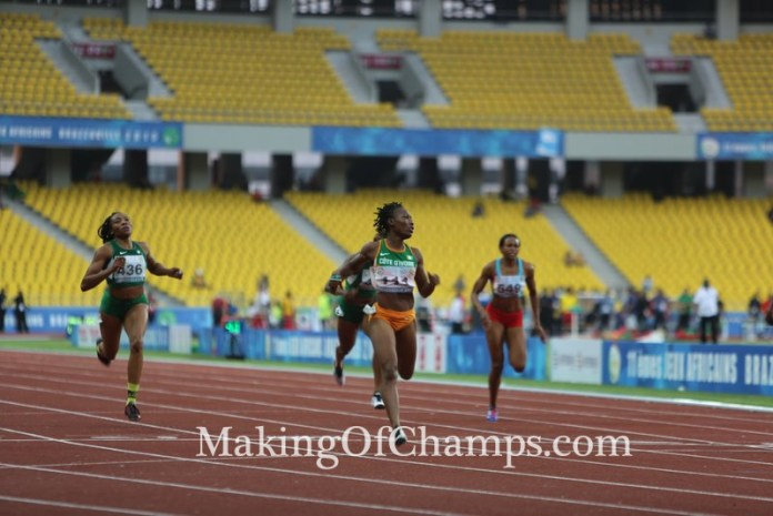 Cote d'Ivoire's Marie Josee Ta Lou won the sprint double in Brazzaville.
