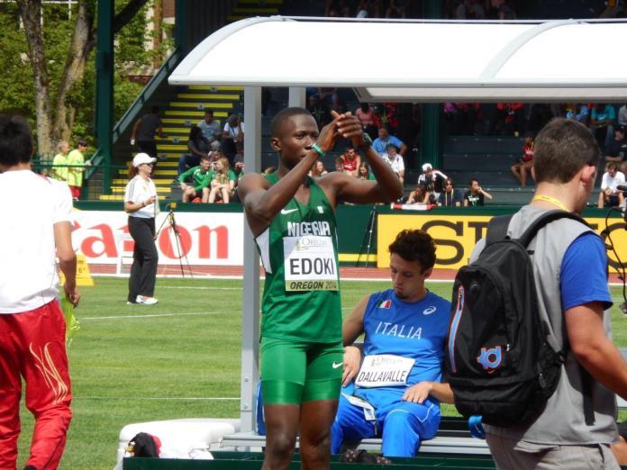 Edoki representing Nigeria at the 2014 World Junior Championships. Photo Credit: www.all-athletics.com