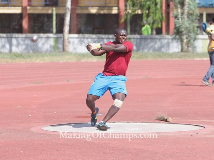 Olawale Olatunji competing in the Hammer throw.