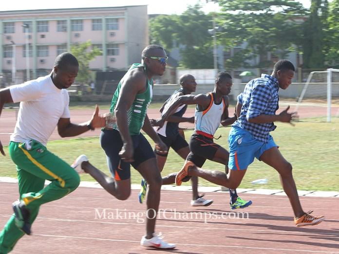 Coach Deji Aliu raced to victory in Heat 5 of the men's 100m.