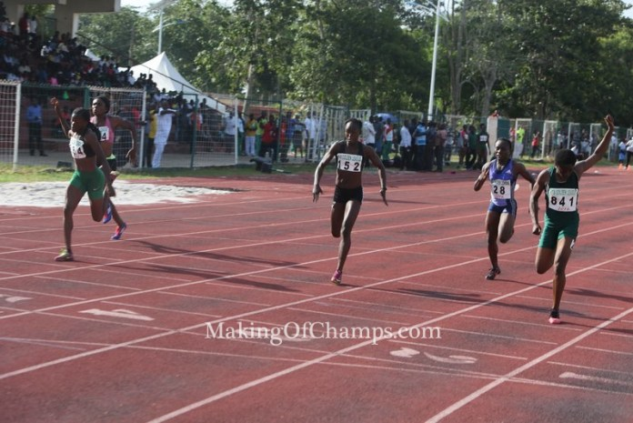 Joy Udo Gabriel dug deep as she dipped in first to win her race.