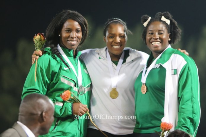 Nwanneka Okwelogu (C), Chinwe Okoro (L) and Chioma Onyekwere (R) made it a 1-2-3 for Nigeria in the women's Discus.