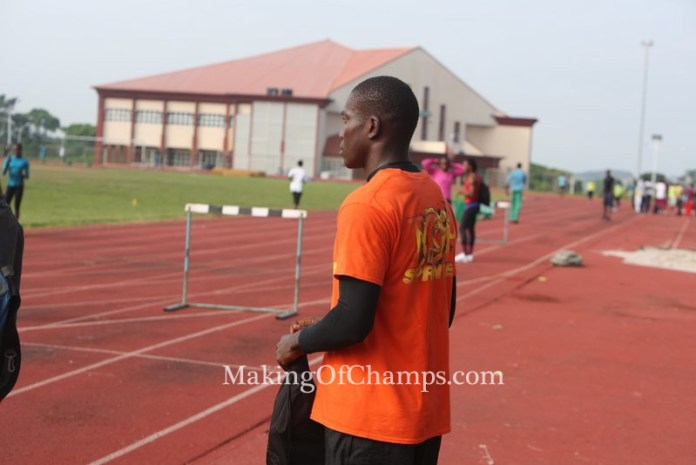 Edwin Peter during his early morning warm-up before competing in the afternoon on Monday