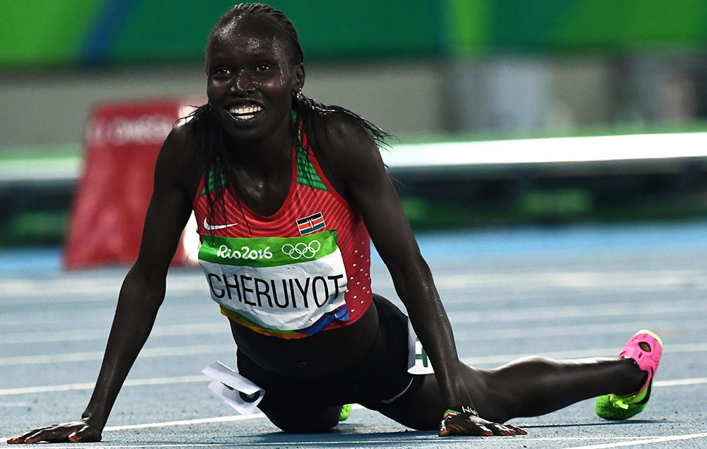A happy Vivian Cheruiyot after winning the women's 5000m Olympic title. Photo Credit: Reuters