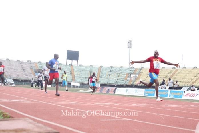 Deji Aliu won the battle for supremacy in the men's 100m Masters race.