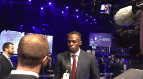 Usain Bolt speaking to the media after winning his sixth Male Athlete of the Year award. Photo Credit: @iaaforg