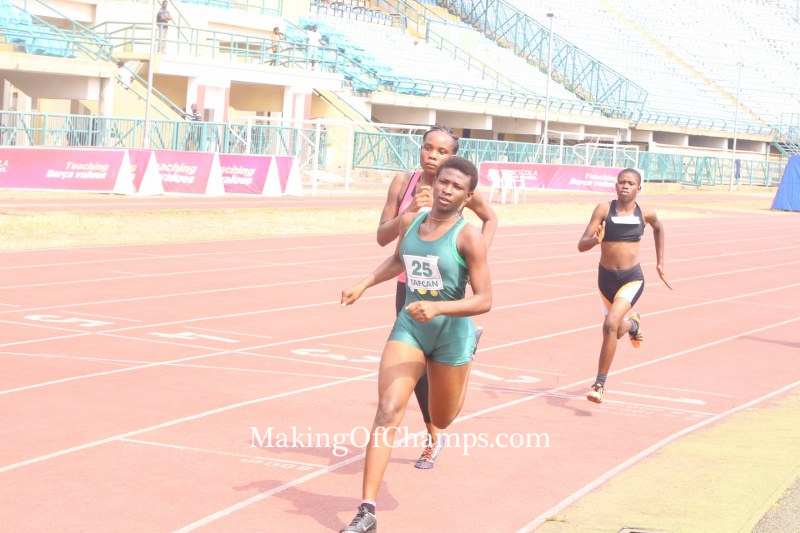 Blessing Obarierhu competing in the women's 500m