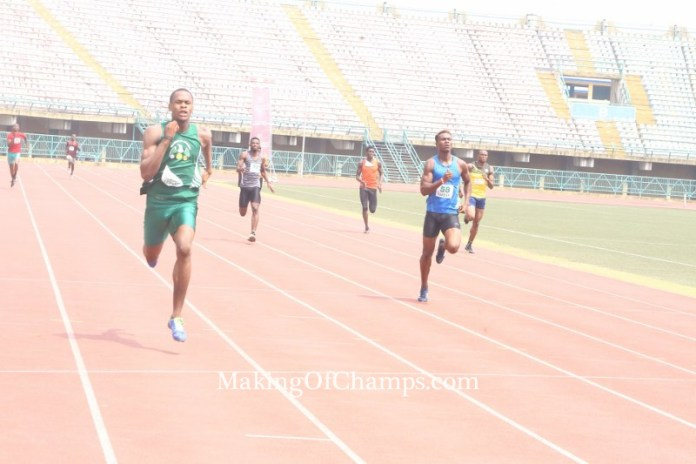 Jakpa comfortably won his 300m race, running a new PB in the process.